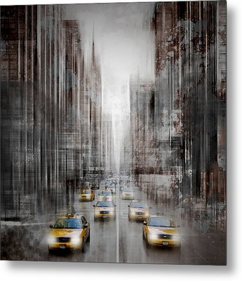 City-art Nyc 5th Avenue Yellow Cabs Metal Print by Melanie Viola
