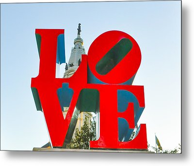 City Hall Behind The Love Statue Metal Print by Bill Cannon