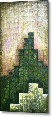 City In Green Metal Print by Shadia