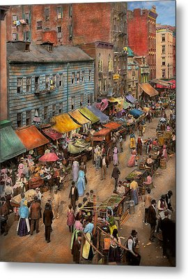 City - Ny - Jewish Market On The East Side 1890 Metal Print by Mike Savad