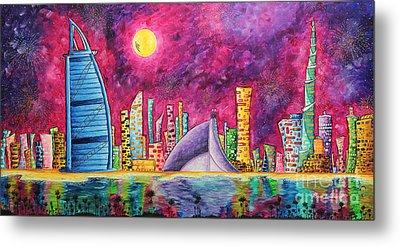 City Of Dubai Pop Art Original Luxe Life Painting By Madart Metal Print by Megan Duncanson
