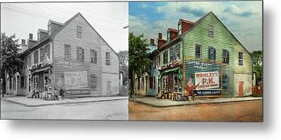 City- Va - C And G Grocery Store 1927 - Side By Side Metal Print by Mike Savad