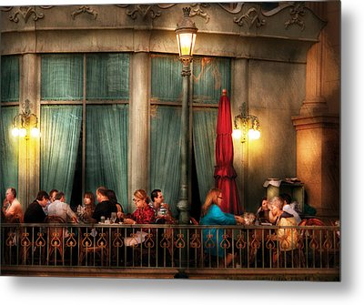 City - Vegas - Paris - The Outdoor Cafe  Metal Print by Mike Savad
