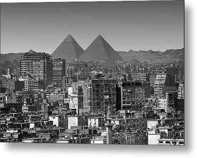 Cityscape Of Cairo, Pyramids, Egypt Metal Print by Anik Messier