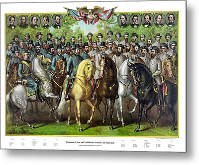 Civil War Generals And Statesman With Names Metal Print by War Is Hell Store