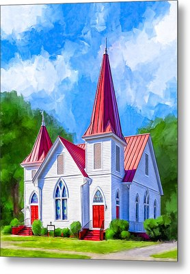 Classic American Church - Oglethorpe Lutheran Metal Print by Mark Tisdale