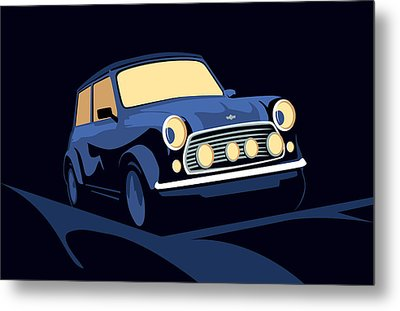 Classic Mini Cooper In Blue Metal Print by Michael Tompsett