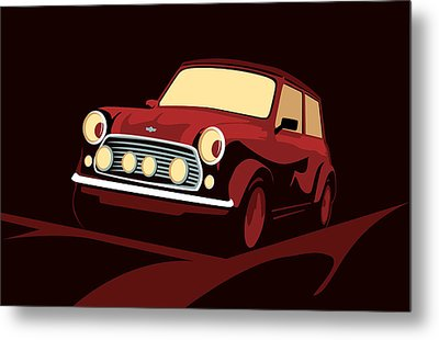 Classic Mini Cooper In Red Metal Print by Michael Tompsett