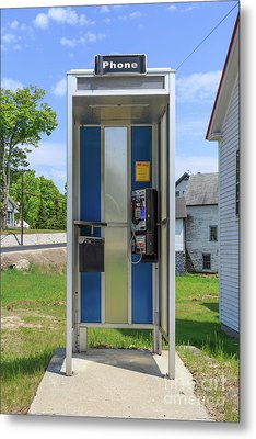 Classic Pay Phone Booth Metal Print by Edward Fielding