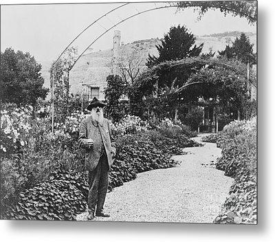 Claude Monet In His Garden Metal Print by French School
