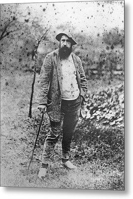 Claude Monet In His Garden Metal Print by Theodore Robinson