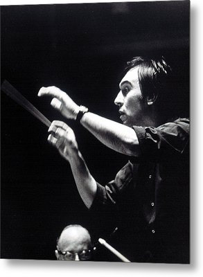 Claudio Abbado, Conducting The Boston Metal Print by Everett