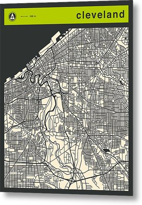 Cleveland Street Map Metal Print by Jazzberry Blue