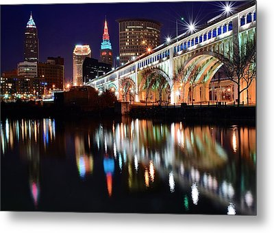 Cleveland Ohio Skyline Metal Print by Frozen in Time Fine Art Photography