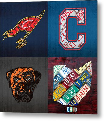 Cleveland Sports Fan Recycled Vintage Ohio License Plate Art Cavaliers Indians Browns And State Map Metal Print by Design Turnpike