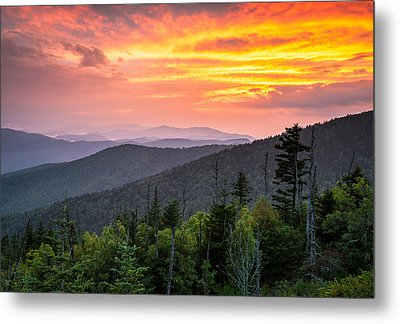 Clingmans Dome Great Smoky Mountains - Purple Mountains Majesty Metal Print by Dave Allen