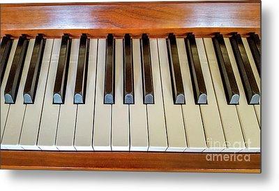 Close Up Of Piano Keyboard Metal Print by Bernard Jaubert