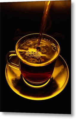 Close View Of Coffee Being Poured Metal Print by Sam Abell