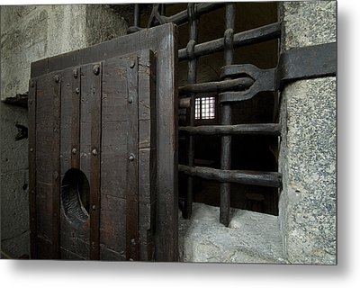 Close View Of Heavy Door To A Cell Metal Print by Todd Gipstein