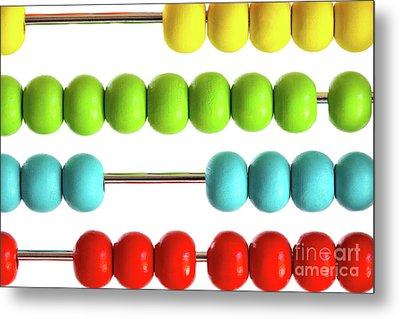 Closeup Of Bright  Abacus Beads On White Metal Print by Sandra Cunningham