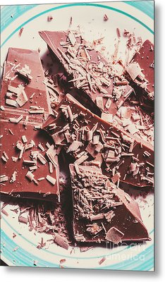 Closeup Of Chocolate Pieces And Shavings On Plate Metal Print by Jorgo Photography - Wall Art Gallery