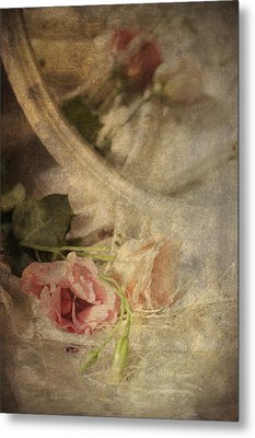 Closeup Of Flowers In Mirror Reflection Metal Print by Ethiriel  Photography