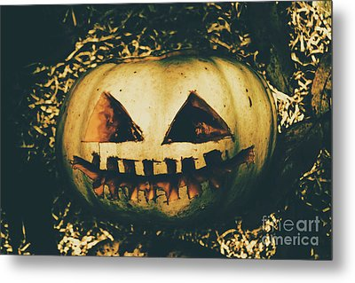 Closeup Of Halloween Pumpkin With Scary Face Metal Print by Jorgo Photography - Wall Art Gallery