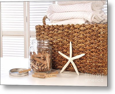 Closeup Of Laundry Basket With Fine Linens  Metal Print by Sandra Cunningham