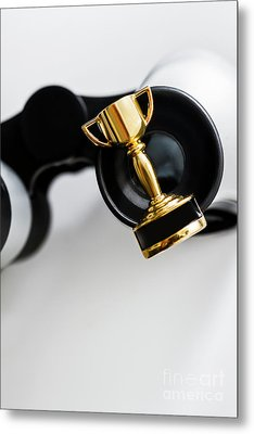 Closeup Of Small Trophy And Binoculars On White Background Metal Print by Jorgo Photography - Wall Art Gallery