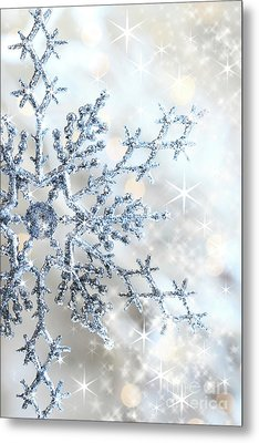 Closeup Of Snowflake Metal Print by Sandra Cunningham