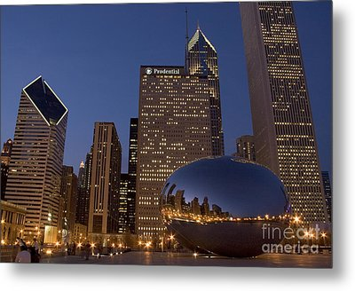 Cloud Gate At Night Metal Print by Timothy Johnson