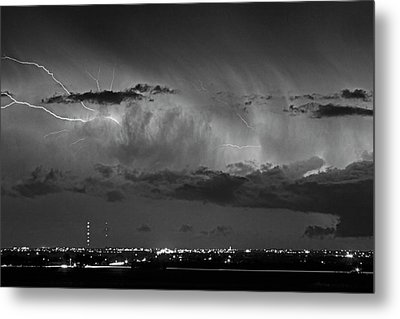 Cloud To Cloud Lightning Boulder County Colorado Bw Metal Print by James BO  Insogna
