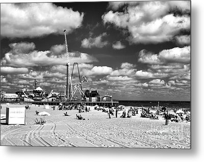 Clouds Over Seaside Heights Mono Metal Print by John Rizzuto