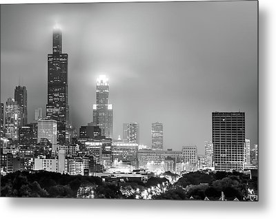 Cloudy Downtown Chicago Skyline In Black And White Metal Print by Gregory Ballos
