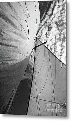 Cloudy Sky Seen Through Billowing White Sails Metal Print by Sami Sarkis