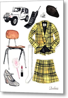 Clueless Movie Collage 90's Fashion Metal Print by Laura Row