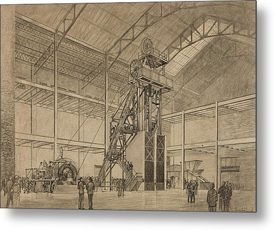 Coal Mine Hoist Metal Print by Percy Hale Lund
