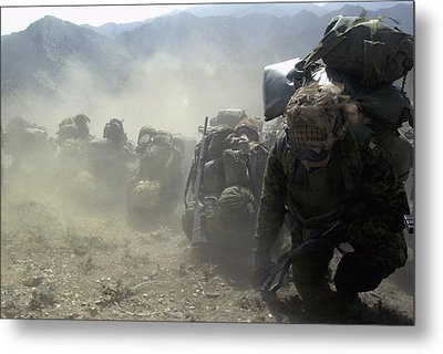 Coalition Soldiers From U.s. Canada Metal Print by Everett
