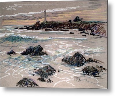 Coast At Pigeon Point Lighthouse Metal Print by Donald Maier