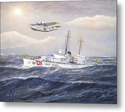 Coast Guard Cutter Pontchartrain And Coast Guard Aircraft  Metal Print by William H RaVell III