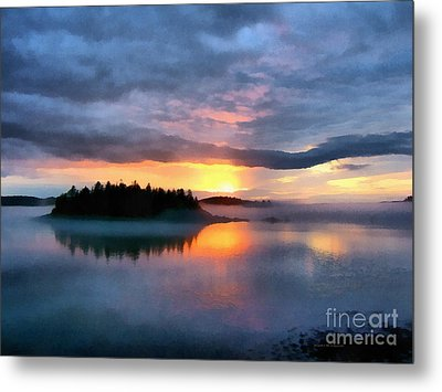 Coastal Maine Sunset Metal Print by Edward Fielding