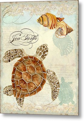 Coastal Waterways - Green Sea Turtle Rectangle 2 Metal Print by Audrey Jeanne Roberts