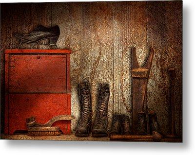 Cobbler - The Shoe Shiner 1900  Metal Print by Mike Savad
