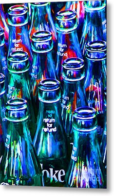 Coca-cola Coke Bottles - Return For Refund - Painterly - Blue Metal Print by Wingsdomain Art and Photography