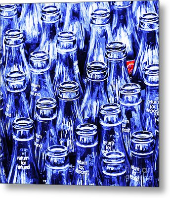 Coca-cola Coke Bottles - Return For Refund - Square - Painterly - Blue Metal Print by Wingsdomain Art and Photography