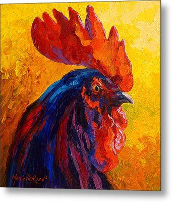 Cocky - Rooster Metal Print by Marion Rose