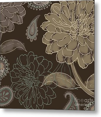Cocoa Paisley II Metal Print by Mindy Sommers