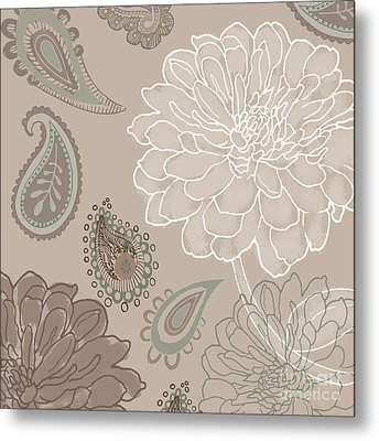 Cocoa Paisley V Metal Print by Mindy Sommers