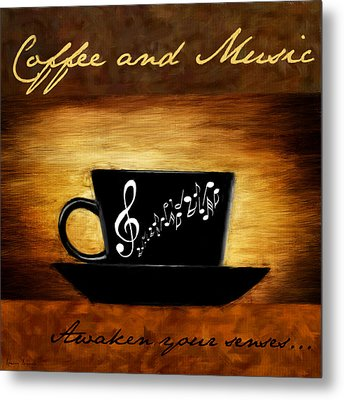 Coffee And Music Metal Print by Lourry Legarde