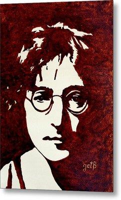 Coffee Painting John Lennon Metal Print by Georgeta  Blanaru